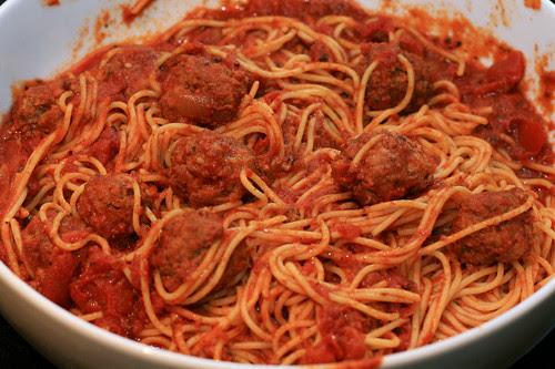 weeknight spaghetti and meatballs