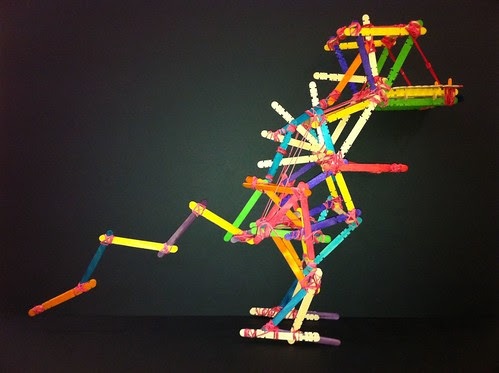 Ice-cream sticks + rubber bands dinosaur lanttern