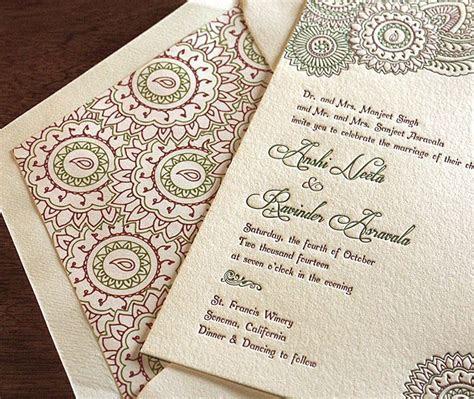 indian floral letterpress wedding invitation by