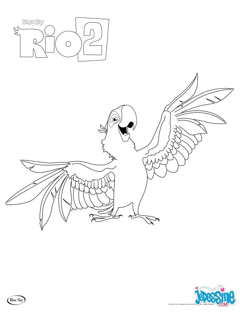 coloriage blu le perroquet de rio 2 8lr