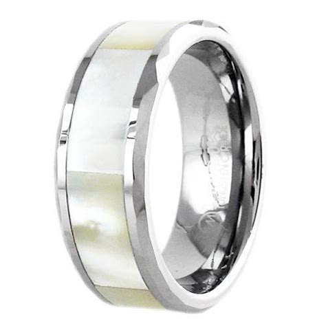 Stunning Mother of Pearl Inlay Tungsten Ring. Wholesale