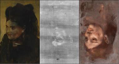 <p>A la izquierda el<em>Retrato de una mujer de</em>Edgard Degas, que esconde invertido el retrato de la modeloEmma Dobigny. A la derecha, representación en falso color del retrato oculto. /David Thurrowgood</p>