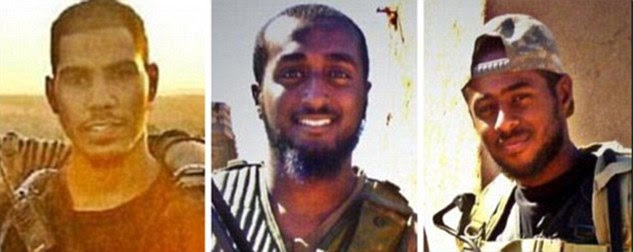 British Moroccan Choukri Ellekhlifi (left), 22, from West London, who attended the same school as Jihadi John, was killed in August 2013 while fighting for Jabhat Nusra. North London brothers Akram Sebah (right), a 24-year-old estate agent, and former English foreign language teacher Mohammed Sebah (centre), 28, were killed in Syria in September 201