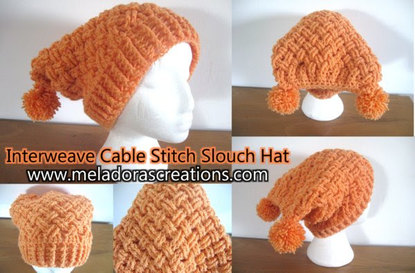 Interweave Cable Stitch Sloutch sombrero Combinado DISPLAY