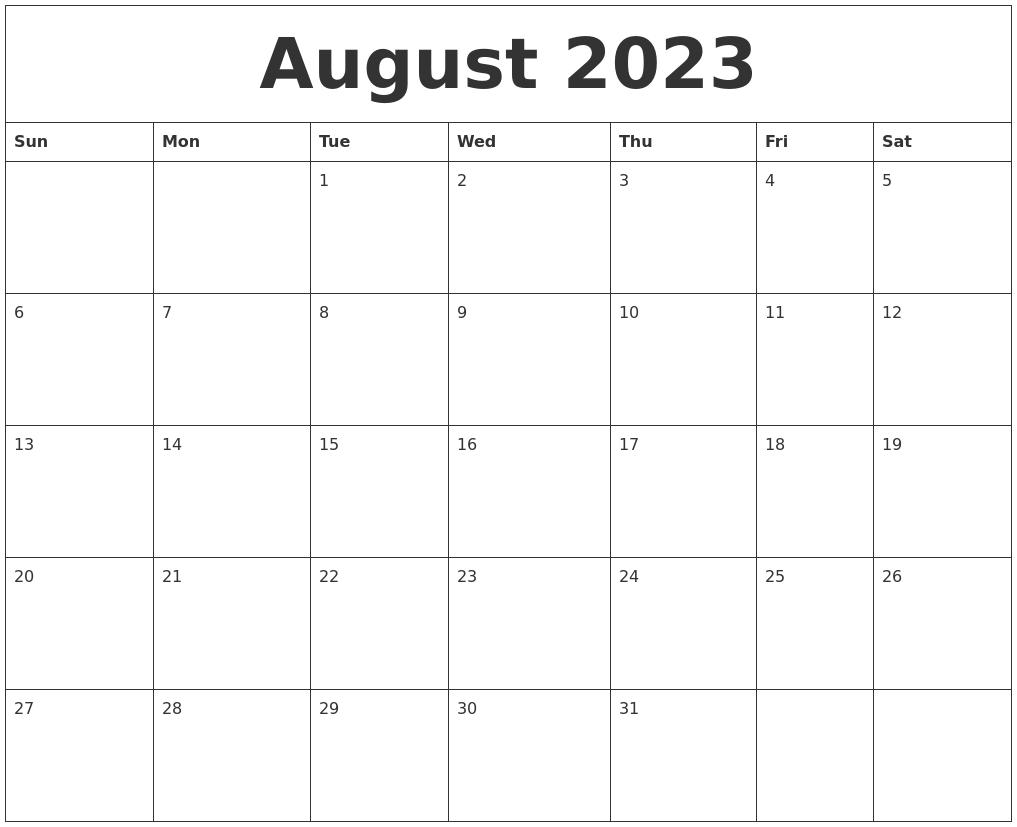 august 2023 print monthly calendar