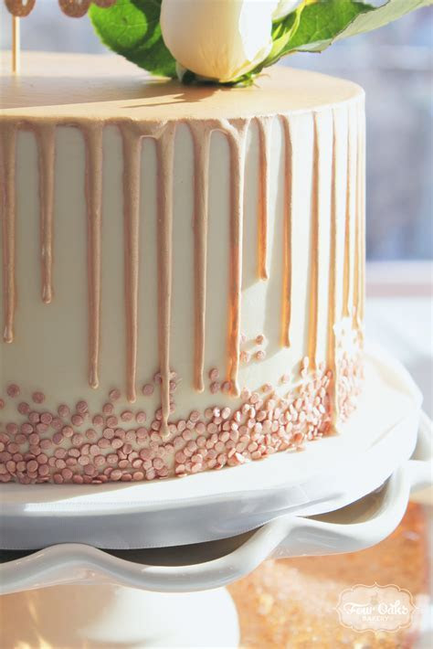 Rose Gold Sequins and Drip Cake   Four Oaks Bakery