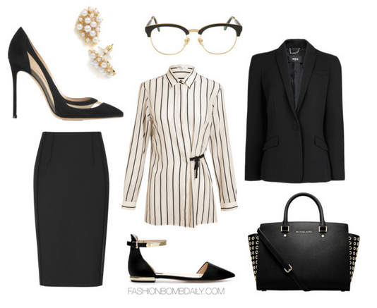 What to Wear to an Interview ANN DEMEULEMEESTER Striped Shirt Gianvito Rossi Mesh Paneled Suede Pumps Michael Kors Selma Grommet Leather Satchel