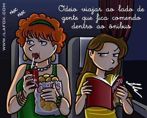 odeio viajar ao lado de gente que fica comendo dentro do ônibus, ilustração by ila fox
