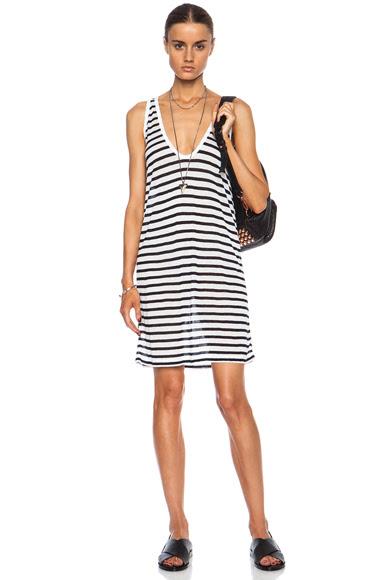 T by Alexander Wang|Stripe Tank Rayon-Blend Dress in Ink & White [1]