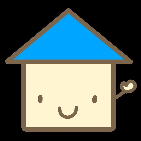 かわいい家青のイラスト かわいいフリー素材が無料のイラストレイン