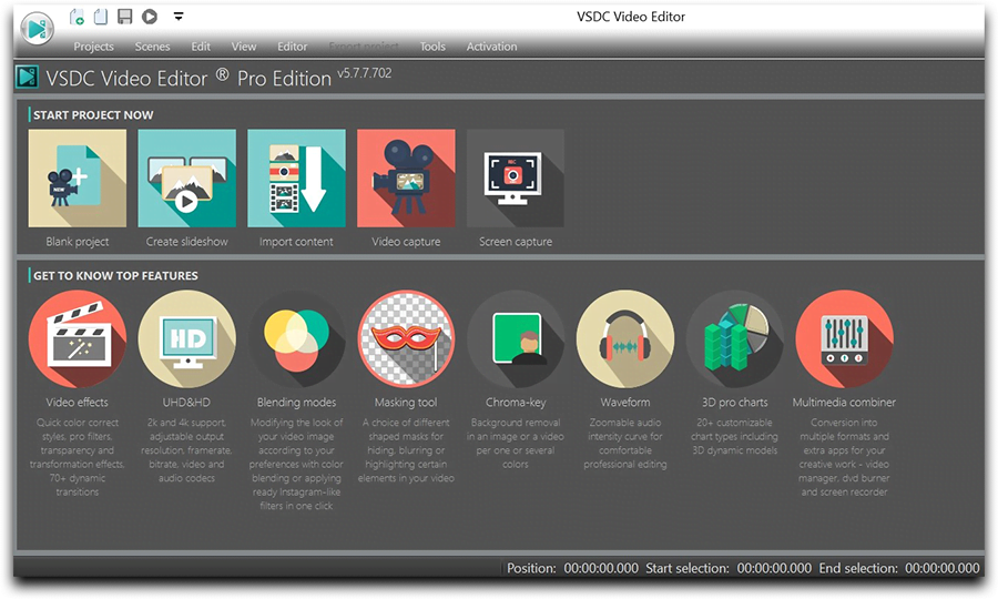 The main menu in VSDC Video Editor