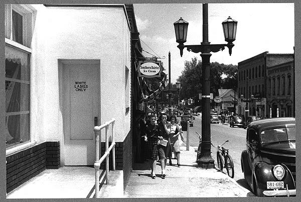 Street scene near bus station in Durham, North Carolina