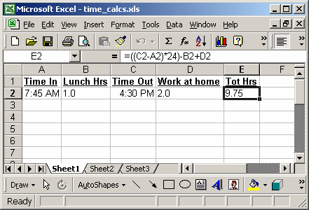 MS Excel 2003: Perform time calculations (Example #1)