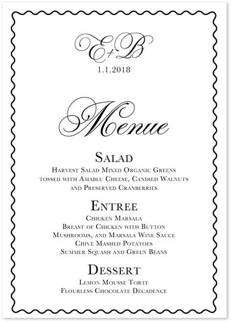 Celebration ? White Wedding Menus & Custom Wedding Party