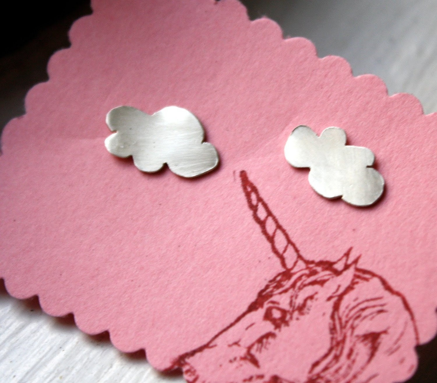 Brushed Sterling Silver Handmade Cloud Studs by Rachel Pfeffer