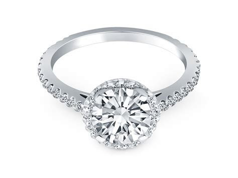 Diamond Halo Cathedral Engagement Ring Mounting with