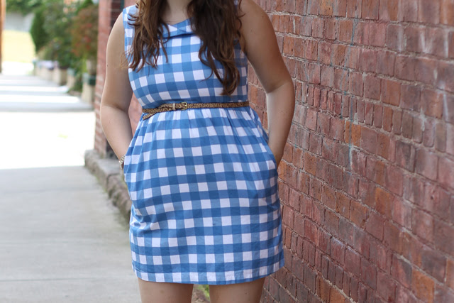 Picnic Outfit: Ruche blue gingham dress, vintage jellies, leopard horsehair skinny belt