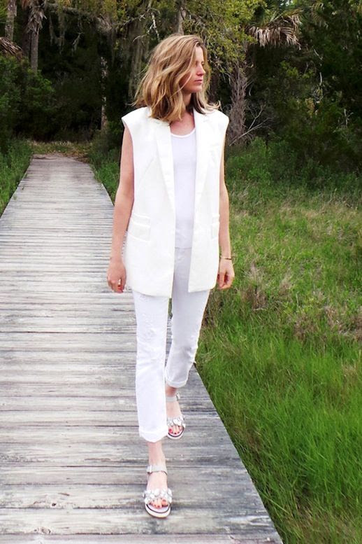 Le Fashion Blog Summer Style Amanda Brooks All White Look Sleeveless Blazer Tee Cropped Jeans High Jewel Encrusted Sandals Via Zara