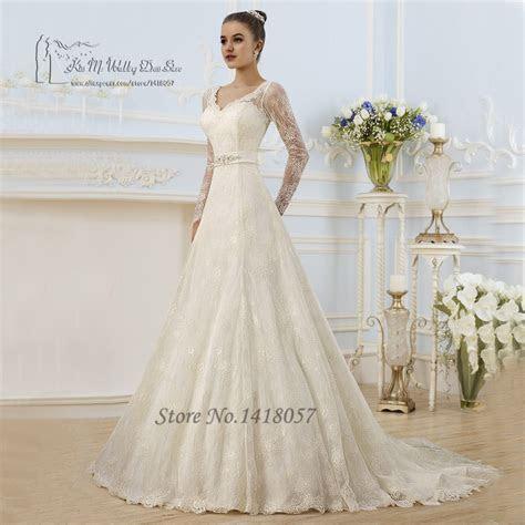 Vintage Ivory Spring Wedding Dress Long Sleeve Lace