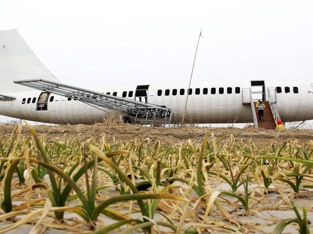 Wang Lanqun construiu réplica de Boeing 737 em sua casa na Comarca de Neihuang (Foto: Reuters)