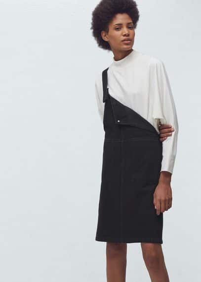 Black denim pinafore dress | MANGO