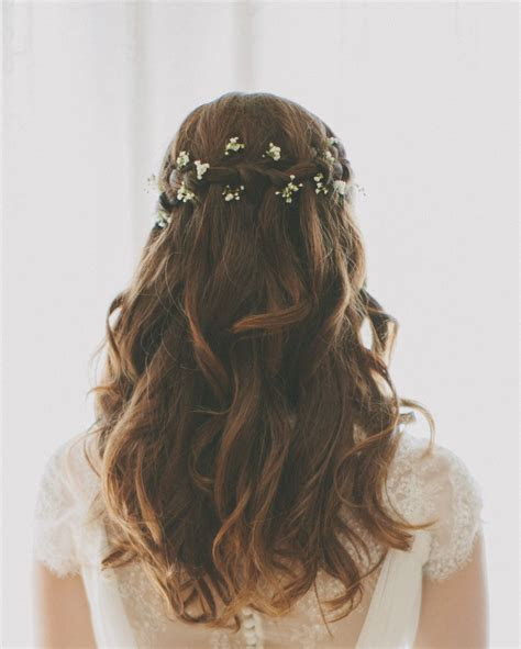 Waterfall braid wedding hair with baby's breath   Hair
