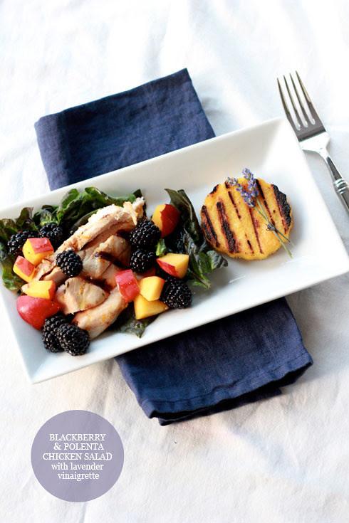 blackberry, polenta & chicken salad