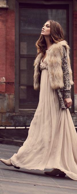 Faux Fur & Maxi   Bohemian Chic