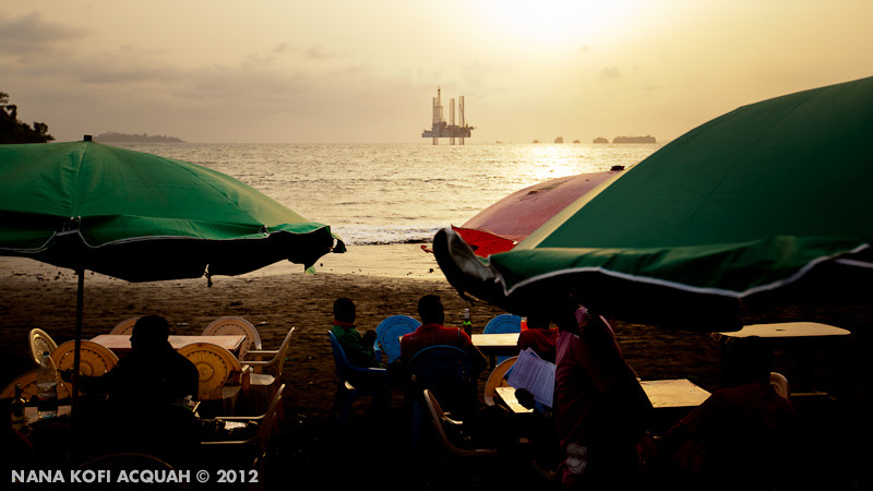 Eating by the sea at Limbe, Cameroon