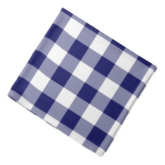Navy and White Gingham Pattern Bandana