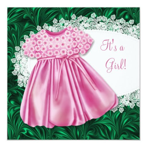 pink dress pink  green baby shower card  zazzle