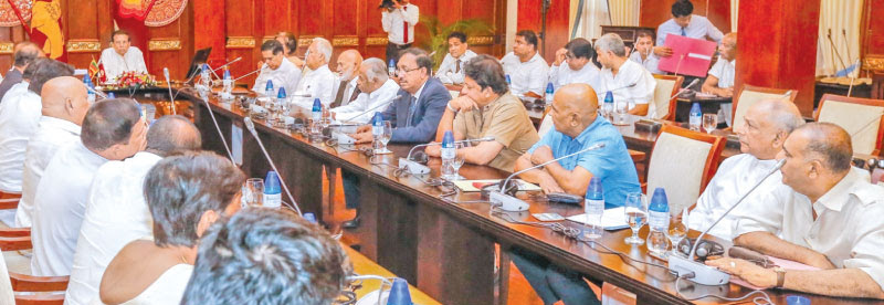 President Maithripala Sirisena addressing the Executive Committee of the United People's Freedom Alliance at the Presidential Secretariat yesterday. Picture by Chandana Perera