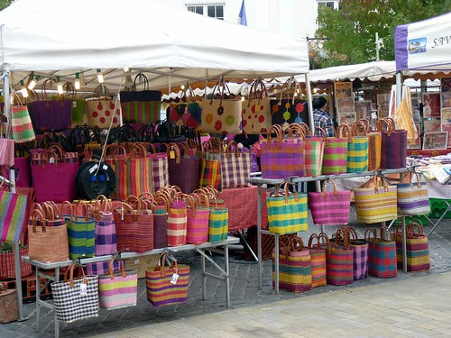 Brightly coloured bags at French Market