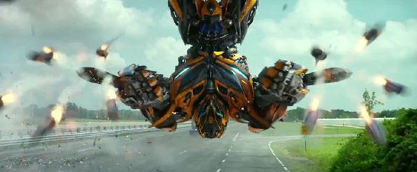 Bumblebee impersonates Spider-Man in TRANSFORMERS: AGE OF EXTINCTION.