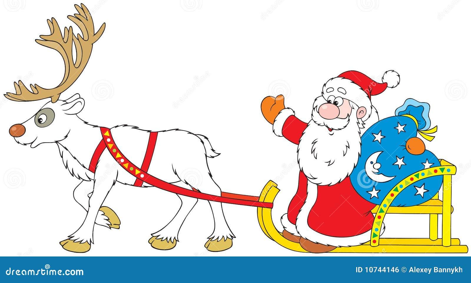 Disegni Da Colorare Di Babbo Natale Con Slitta E Renne Migliori
