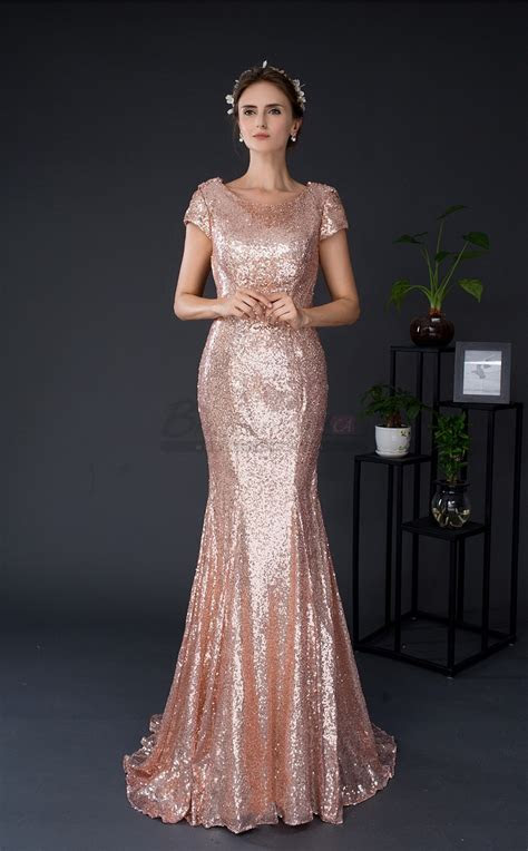 Mermaid Jewel Sequined Pink Long Evening Dresses CA18286