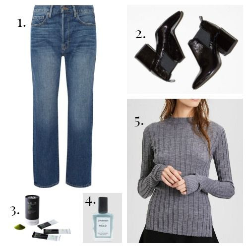 Frame Denim - No. 6 Boots - Panatea Matcha - J.Hannah Nail Polish - Theory Sweater
