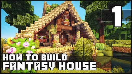 Minecraft how to build fantasy house part 1 for Keralis modern house 9 part 1