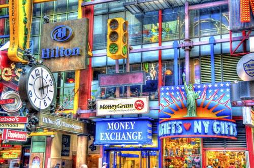 Signs of Times Square in HDR