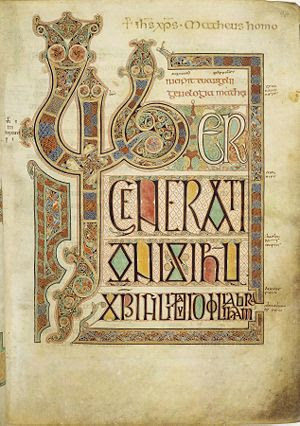 Folio 27r from the Lindisfarne Gospels contain...