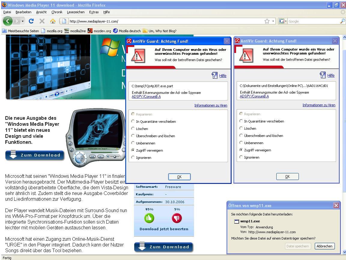 Der AVG-Viren-Scanner ist auch nicht mit dieser Datei zufrieden