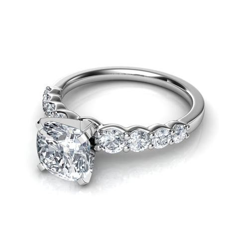 Graduated Side Stone Cushion Cut Diamond Engagement Ring
