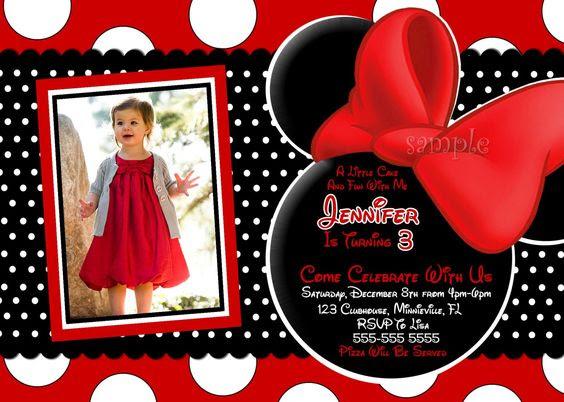 Free Minnie Mouse Birthday Invitations Templates   Penélope