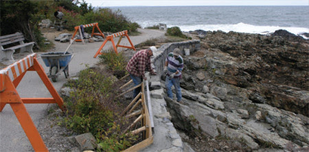 Workers built a retaining wall to stabilize a seriously damaged section of the Marginal Way after the Patriots Day Storm of 2007. Private donors contributed $100,000. Photo courtesy Marginal Way Preservation Fund.
