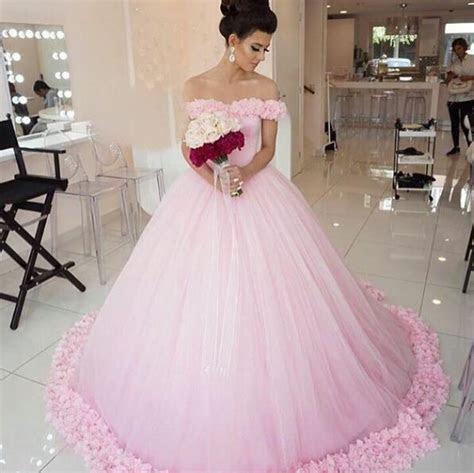 Pink Wedding Dress,Simple Wedding Dress,Off The Shoulder