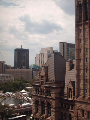 A bird's eye view of the TO Art Exhibition and old city hall, 2007