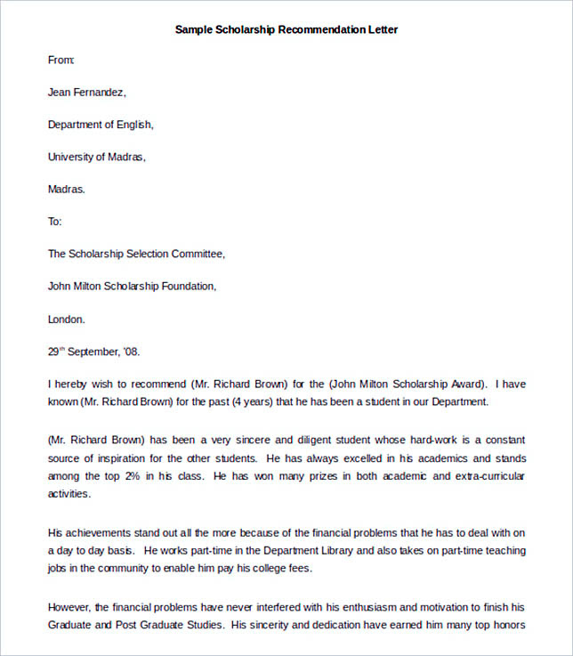 Internship Letter Of Recommendation Template