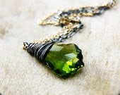 Green Crystal Necklace Silver Gold Olive  Pendant PoleStar - PoleStar