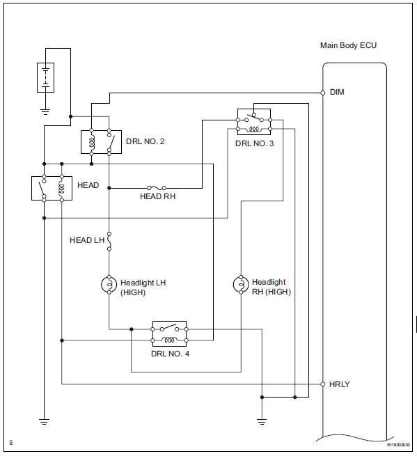 Toyota Rav4 Service Manual Headlight Hi Beam Circuit Data List Active Test Lighting System Lighting