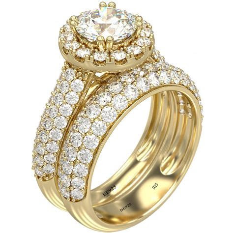 Halo Design 925 Sterling Silver 18k Gold Tone Wedding Ring Set